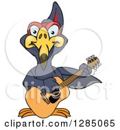 Cartoon Happy Terradactyl Playing An Acoustic Guitar