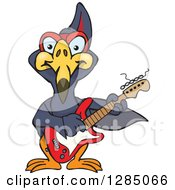 Clipart Of A Cartoon Happy Terradactyl Playing An Electric Guitar Royalty Free Vector Illustration by Dennis Holmes Designs