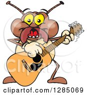 Clipart Of A Cartoon Happy Termite Playing An Acoustic Guitar Royalty Free Vector Illustration by Dennis Holmes Designs