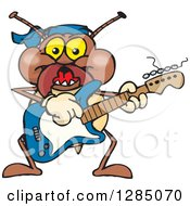 Clipart Of A Cartoon Happy Termite Playing An Electric Guitar Royalty Free Vector Illustration by Dennis Holmes Designs
