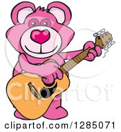 Clipart Of A Cartoon Happy Pink Teddy Bear Playing An Acoustic Guitar Royalty Free Vector Illustration