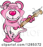 Clipart Of A Cartoon Happy Pink Teddy Bear Playing An Electric Guitar Royalty Free Vector Illustration