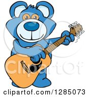Clipart Of A Cartoon Happy Blue Teddy Bear Playing An Acoustic Guitar Royalty Free Vector Illustration