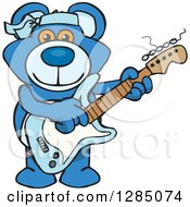 Clipart Of A Cartoon Happy Blue Teddy Bear Playing An Electric Guitar Royalty Free Vector Illustration