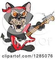 Cartoon Happy Tasmanian Devil Playing An Electric Guitar