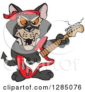 Clipart Of A Cartoon Happy Tasmanian Devil Playing An Electric Guitar Royalty Free Vector Illustration