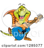 Clipart Of A Cartoon Happy Swordtail Fish Playing An Acoustic Guitar Royalty Free Vector Illustration by Dennis Holmes Designs