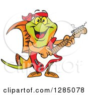 Cartoon Happy Swordtail Fish Playing An Electric Guitar