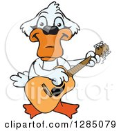 Clipart Of A Cartoon Happy Mute Swan Playing An Acoustic Guitar Royalty Free Vector Illustration by Dennis Holmes Designs