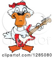 Clipart Of A Cartoon Happy Mute Swan Playing An Electric Guitar Royalty Free Vector Illustration by Dennis Holmes Designs