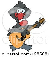 Clipart Of A Cartoon Happy Black Swan Playing An Acoustic Guitar Royalty Free Vector Illustration by Dennis Holmes Designs