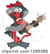 Clipart Of A Cartoon Happy Black Swan Playing An Electric Guitar Royalty Free Vector Illustration by Dennis Holmes Designs