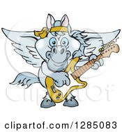 Clipart Of A Cartoon Happy Pegasus Horse Playing An Electric Guitar Royalty Free Vector Illustration by Dennis Holmes Designs