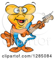 Clipart Of A Cartoon Happy Goldfish Playing An Electric Guitar Royalty Free Vector Illustration