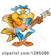 Clipart Of A Cartoon Happy Fancy Goldfish Playing An Electric Guitar Royalty Free Vector Illustration