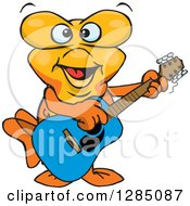 Clipart Of A Cartoon Happy Goldfish Playing An Acoustic Guitar Royalty Free Vector Illustration