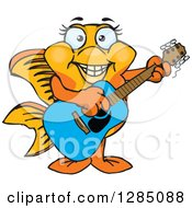 Clipart Of A Cartoon Happy Fancy Goldfish Playing An Acoustic Guitar Royalty Free Vector Illustration