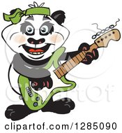 Cartoon Happy Panda Playing An Electric Guitar