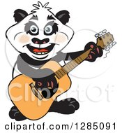 Cartoon Happy Panda Playing An Acoustic Guitar