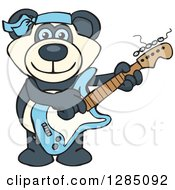 Cartoon Happy Blue Eyed Panda Playing An Electric Guitar