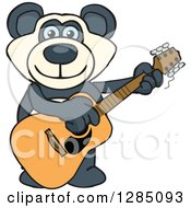 Cartoon Happy Blue Eyed Panda Playing An Acoustic Guitar