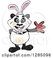 Friendly Waving Panda Wearing Easter Bunny Ears