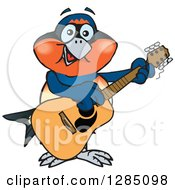 Clipart Of A Cartoon Happy Swallow Bird Playing An Acoustic Guitar Royalty Free Vector Illustration