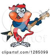 Cartoon Happy Swallow Bird Playing An Electric Guitar