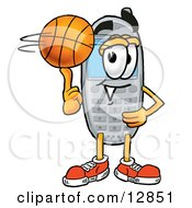 Wireless Cellular Telephone Mascot Cartoon Character Spinning A Basketball On His Finger