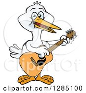 Cartoon Happy Stork Playing An Acoustic Guitar