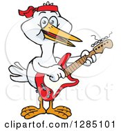 Cartoon Happy Stork Playing An Electric Guitar