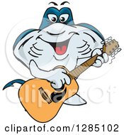 Clipart Of A Cartoon Happy Sting Ray Playing An Acoustic Guitar Royalty Free Vector Illustration