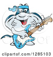 Clipart Of A Cartoon Happy Sting Ray Playing An Electric Guitar Royalty Free Vector Illustration