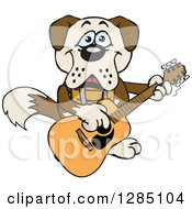 Clipart Of A Cartoon Happy St Bernard Dog Playing An Acoustic Guitar Royalty Free Vector Illustration