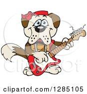 Cartoon Happy St Bernard Dog Playing An Electric Guitar