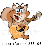 Clipart Of A Cartoon Happy Squirrel Playing An Acoustic Guitar Royalty Free Vector Illustration