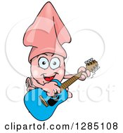 Cartoon Happy Squid Playing An Acoustic Guitar