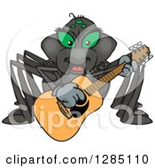 Clipart Of A Cartoon Happy Black Widow Spider Playing An Acoustic Guitar Royalty Free Vector Illustration