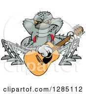 Clipart Of A Cartoon Happy Spider Playing An Acoustic Guitar Royalty Free Vector Illustration