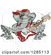 Clipart Of A Cartoon Happy Spider Playing An Electric Guitar Royalty Free Vector Illustration