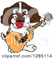 Clipart Of A Cartoon Happy English Springer Spaniel Dog Playing An Acoustic Guitar Royalty Free Vector Illustration by Dennis Holmes Designs