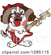 Clipart Of A Cartoon Happy English Springer Spaniel Dog Playing An Electric Guitar Royalty Free Vector Illustration