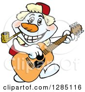 Cartoon Happy Snowman Smoking A Pipe And Playing An Acoustic Guitar