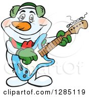 Cartoon Happy Snowman Smoking A Pipe And Playing An Electric Guitar