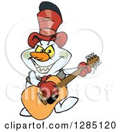Cartoon Evil Snowman Playing A Wooden Acoustic Guitar