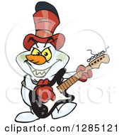 Cartoon Evil Snowman Playing A Black And White Electric Guitar