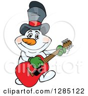 Cartoon Happy Snowman Wearing A Top Hat And Playing An Acoustic Guitar