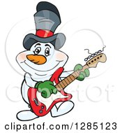 Cartoon Happy Snowman Wearing A Top Hat And Playing An Electric Guitar