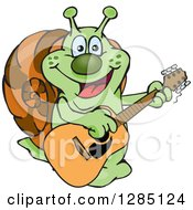 Cartoon Happy Snail Playing An Acoustic Guitar