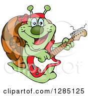 Cartoon Happy Snail Playing An Electric Guitar